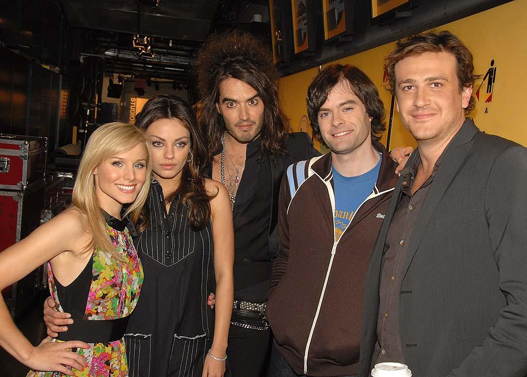 "The ""Forgetting Sarah Marshall"" cast (Kristen Bell, Mila Kunis, Russell Brand, Bill Hader, and Jason Segel) strikes a pose backstage. Theo Wargo/<a href=""http://www.wireimage.com"" target=""new"">WireImage.com</a> - April 15, 2008"