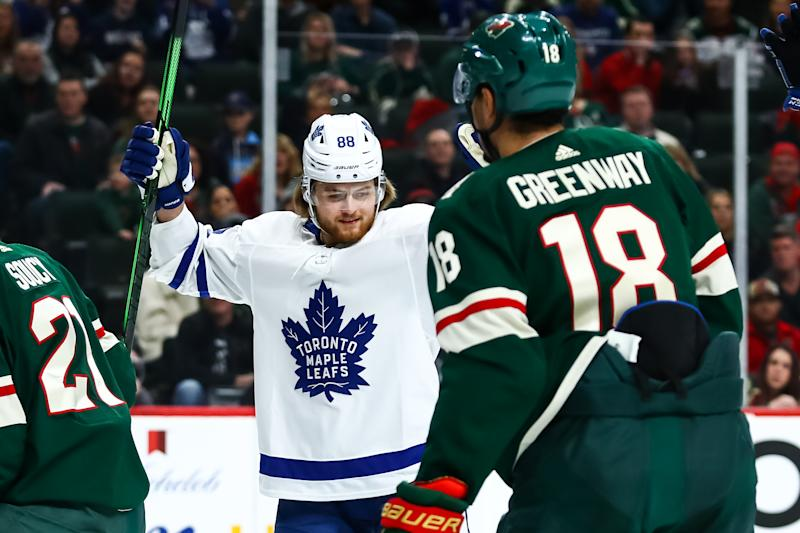 Dec 31, 2019; Saint Paul, Minnesota, USA; Toronto Maple Leafs right wing William Nylander (88) celebrates after scoring a goal against the Minnesota Wild in the first period at Xcel Energy Center. Mandatory Credit: David Berding-USA TODAY Sports