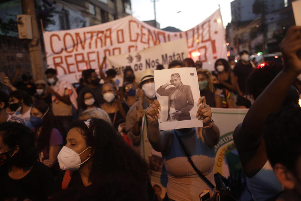 Protesters took to the streets of Brazil after Kathlen Romeu's death.