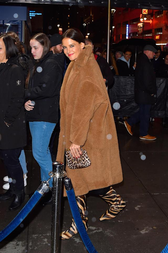 Katie Holmes wore the Max Mara coat to the Jingle Ball on December 13, 2019 in New York City. [Photo: Getty]