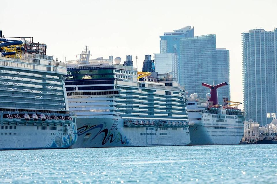 Cruise ships are docked and lined up at PortMiami in Miami. Though the industry remains shut down during the COVID-19 pandemic, ships still visit to refuel.