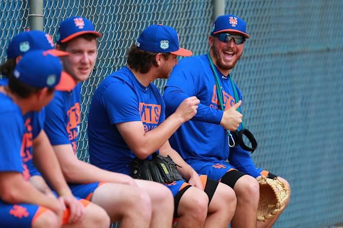 <p>New York Mets minor league pitcher Andrew Church finds the camera while watching a bullpen session at the Mets spring training facility in Port St. Lucie, Fla., Friday, Feb 24, 2017. (Gordon Donovan/Yahoo Sports) </p>
