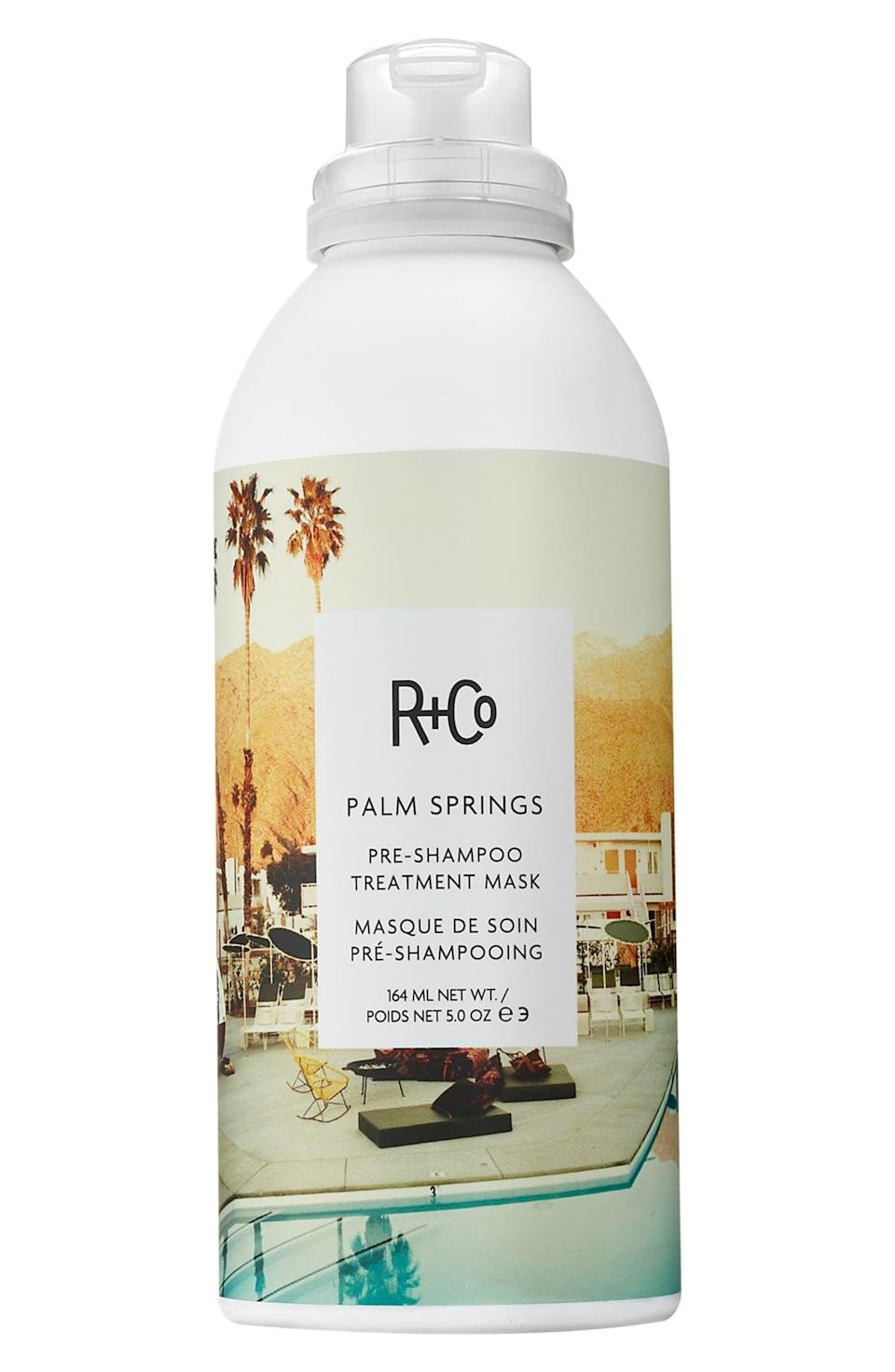 """<p>For hair that's frequently heat styled or color-treated, the <a href=""""https://www.popsugar.com/buy/RCo-Palm-Springs-Pre-Shampoo-Treatment-Mask-586440?p_name=R%2BCo%20Palm%20Springs%20Pre-Shampoo%20Treatment%20Mask&retailer=shop.nordstrom.com&pid=586440&price=32&evar1=bella%3Aus&evar9=47589908&evar98=https%3A%2F%2Fwww.popsugar.com%2Fphoto-gallery%2F47589908%2Fimage%2F47590163%2FRCo-Palm-Springs-Pre-Shampoo-Treatment-Mask&list1=hair%2Chair%20products%2Cbeauty%20shopping&prop13=api&pdata=1"""" class=""""link rapid-noclick-resp"""" rel=""""nofollow noopener"""" target=""""_blank"""" data-ylk=""""slk:R+Co Palm Springs Pre-Shampoo Treatment Mask"""">R+Co Palm Springs Pre-Shampoo Treatment Mask</a> ($32) is an ideal product. It uses a mixture of oils and butters that pump some extra life into your hair before being shampooed and styled.</p>"""