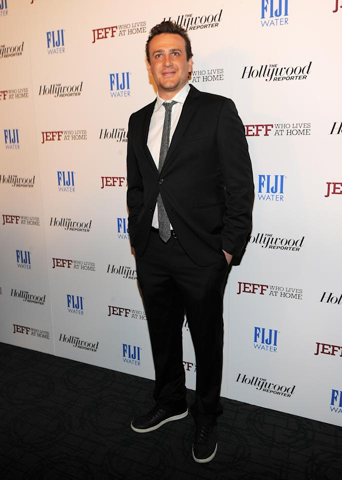 "NEW YORK, NY - MARCH 12:  Actor Jason Segel attends the ""Jeff, Who Lives at Home"" screening hosted by The Hollywood Reporter and FIJI Water at the Sunshine Landmark on March 12, 2012 in New York City.  (Photo by Larry Busacca/Getty Images)"