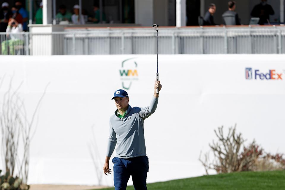 SCOTTSDALE, ARIZONA - FEBRUARY 06: Jordan Spieth of the United States reacts to a birdie on the 16th hole during the third round of the Waste Management Phoenix Open at TPC Scottsdale on February 06, 2021 in Scottsdale, Arizona. (Photo by Christian Petersen/Getty Images)