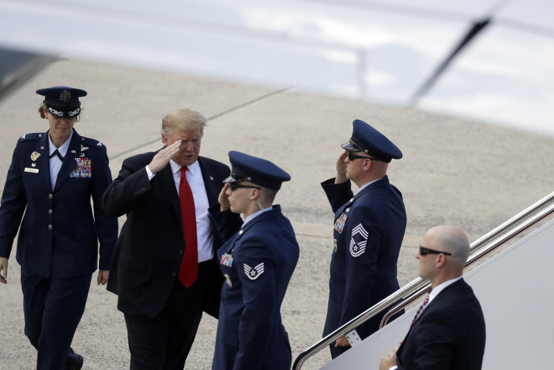 President Donald Trump boards Air Force One for a trip to a Montoursville, Pa., for a campaign rally, Monday, May 20, 2019, at Andrews Air Force Base, Md. (AP Photo/Evan Vucci)