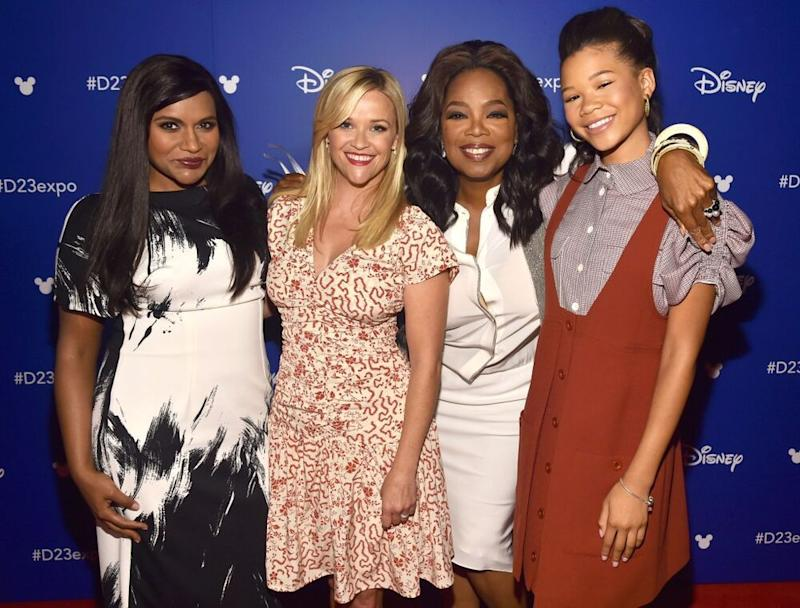 From left: Mindy Kaling, Reese Witherspoon, Oprah Winfrey and Storm Reid, 2017 | Alberto E. Rodriguez/Getty Images