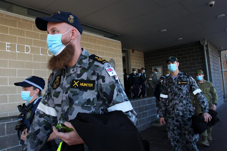 Australian Defence Force personnel and NSW police are deployed  in Sydney (Getty Images)