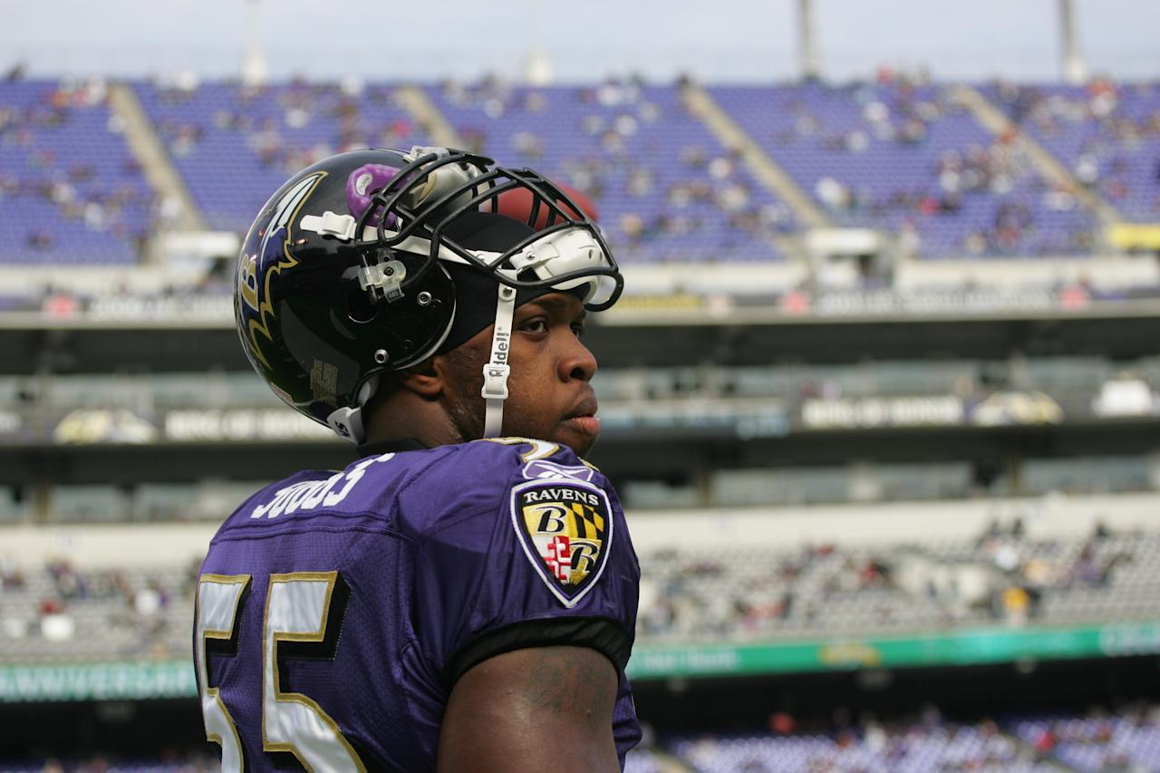 Terrell Suggs #55 of the Baltimore Ravens walks on the field against the Cincinnati Bengals at M&T Bank Stadium on November 5, 2006 in Baltimore, Maryland. The Ravens defeated the Bengals 26-20. (Photo by Tom Hauck/Getty Images)