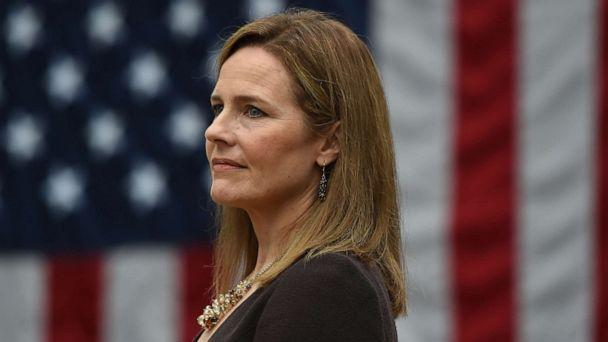 PHOTO: Judge Amy Coney Barrett is nominated to the US Supreme Court by President Donald Trump in the Rose Garden of the White House in Washington, DC, on Sept. 26, 2020. (Olivier Douliery/AFP via Getty Images)
