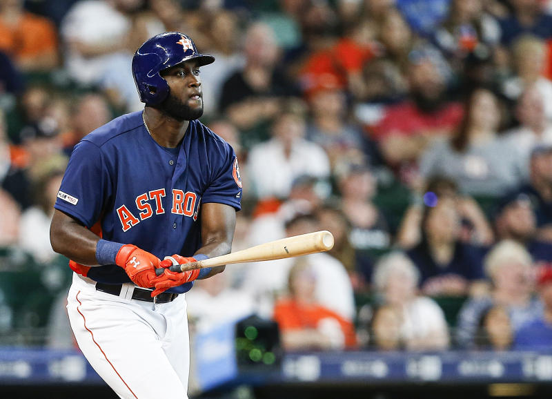 Astros rookie Yordan Alvarez is already making home run history less than a week into his big league career. (Photo by Bob Levey/Getty Images)