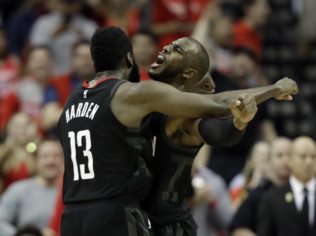 "James Harden and <a class=""link rapid-noclick-resp"" href=""/nba/players/3930/"" data-ylk=""slk:Chris Paul"">Chris Paul</a> are still finding their chemistry. (AP)"