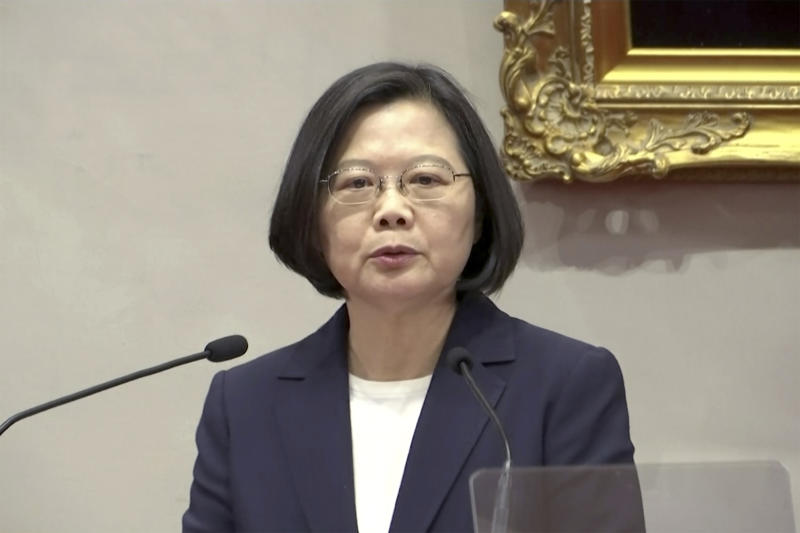 In this image made from video, Taiwanese President Tsai Ing-wen speaks at news conference at presidential office in Taipei, Monday, Sept. 16, 2019. The Solomon Islands switched diplomatic recognition from Taiwan to China on Monday, becoming the latest country to leave the dwindling Taiwanese camp.(AP Photo)