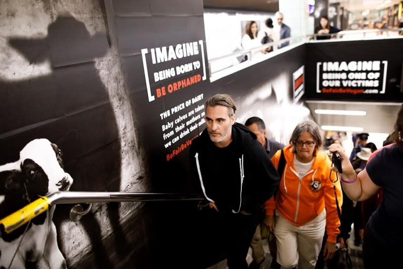 Joaquin Phoenix visits Toronto subway station to support vegan campaign