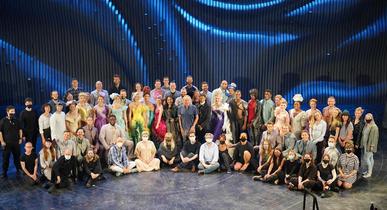 Andrew Lloyd Webber with the cast of Cinderella