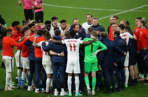 """<span class=""""caption"""">The England team's Euro 2020 was full of moments the country should be proud of. </span> <span class=""""attribution""""><a class=""""link rapid-noclick-resp"""" href=""""https://www.alamy.com/london-england-11th-july-2021-gareth-southgate-manager-of-england-collects-names-for-penalties-during-the-uefa-euro-2020-final-at-wembley-stadium-london-picture-credit-should-read-david-klein-sportimage-credit-sportimagealamy-live-news-image434709862.html?pv=1&stamp=2&imageid=BD14000E-D7AD-4FB2-9028-CA69B4DC6725&p=1420363&n=0&orientation=0&pn=1&searchtype=11&IsFromSearch=1"""" rel=""""nofollow noopener"""" target=""""_blank"""" data-ylk=""""slk:Sportimage/Alamy"""">Sportimage/Alamy</a></span>"""