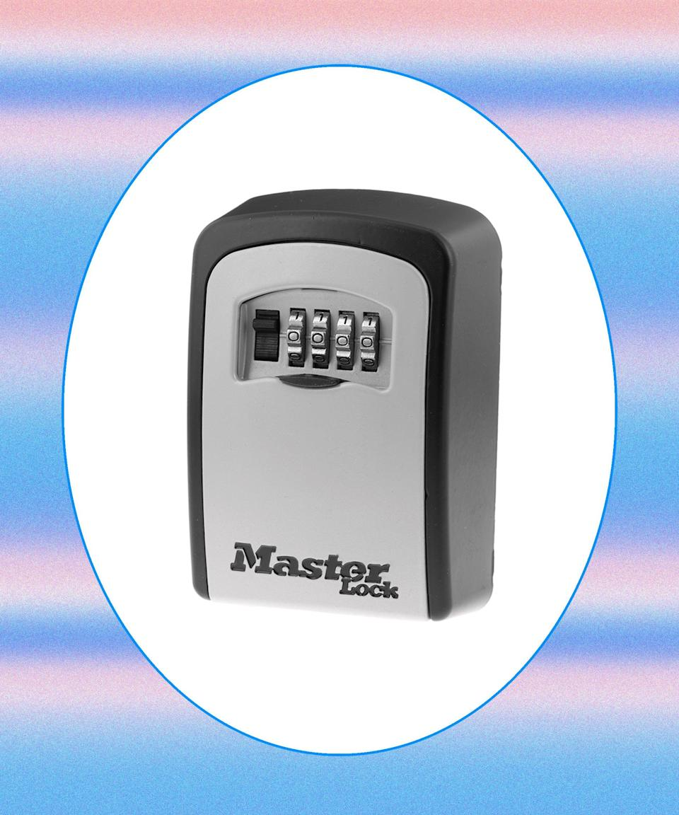 """<h2>Masterlock Lock Box<br></h2>Alternatively, a cheaper option is an old-school lock box. Just mount it somewhere outside your home and your guest will be able to access a set of physical keys with a combination code. <br><br><strong>Master Lock</strong> Masterlock Lock Box, $, available at <a href=""""https://go.skimresources.com/?id=30283X879131&url=https%3A%2F%2Fwww.masterlock.com%2Fproducts%2Fproduct%2F5401D"""" rel=""""nofollow noopener"""" target=""""_blank"""" data-ylk=""""slk:Master Lock"""" class=""""link rapid-noclick-resp"""">Master Lock</a>"""