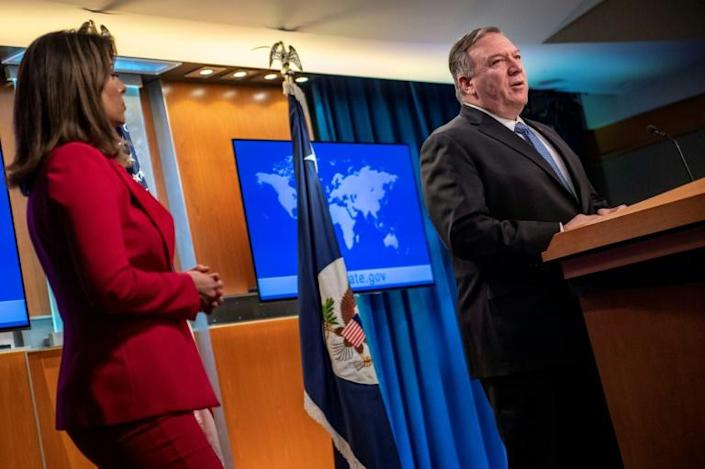 """US Secretary of State Mike Pompeo, speaking to reporters on March 5, has referred to the novel coronavirus as the """"Wuhan virus"""" (AFP Photo/Eric BARADAT)"""