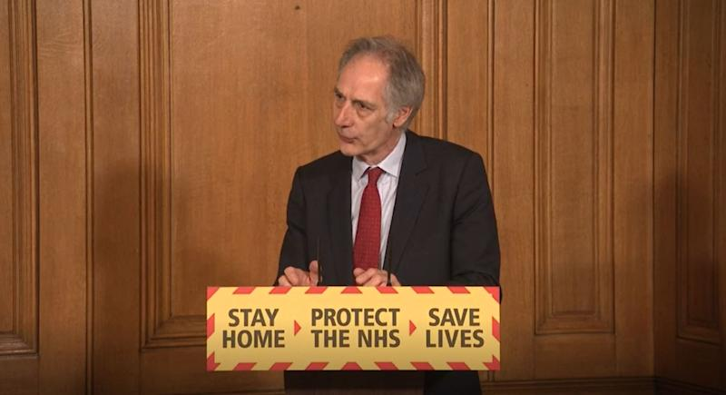 Screen grab of Director Health Improvement at Publich Health England Professor John Newton during a media briefing in Downing Street, London, on coronavirus (COVID-19). (Photo by PA Video/PA Images via Getty Images)