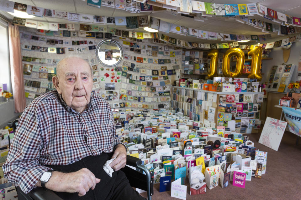RAF veteran Jack Annall received more than 5,000 cards for his 101st birthday after kind-hearted care home staff appealed to strangers to make his day special. (SWNS)