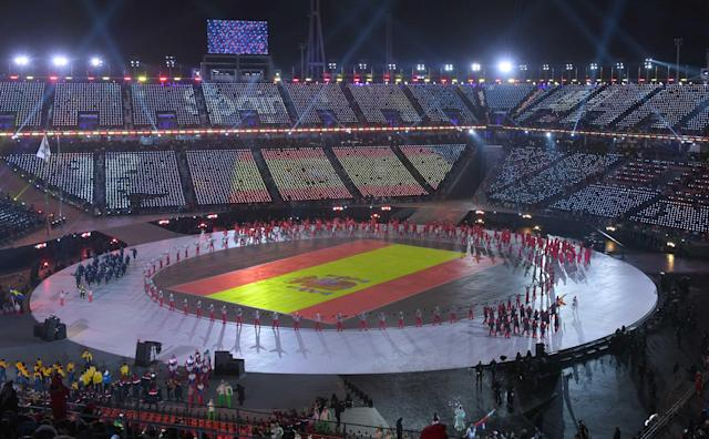 <p>Pyeongchang 2018 Winter Olympics – Opening ceremony – Pyeongchang Olympic Stadium – Pyeongchang, South Korea – February 9, 2018 – The flag of Spain is seen in the opening ceremony. REUTERS/Christof Stache </p>