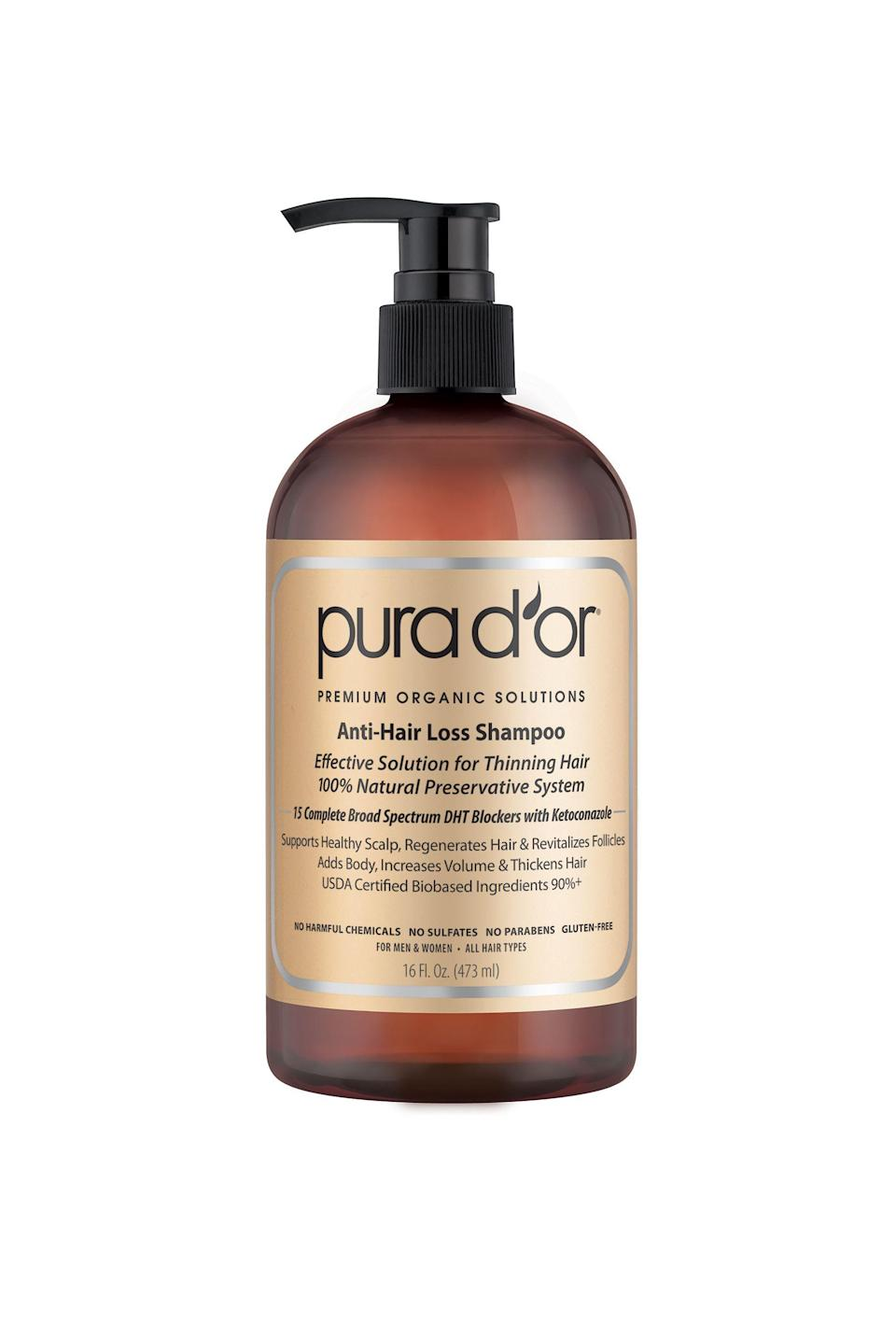 """<p><strong>PURA D'OR</strong></p><p>walmart.com</p><p><strong>$29.99</strong></p><p><a href=""""https://go.redirectingat.com?id=74968X1596630&url=http%3A%2F%2Fwww.walmart.com%2Fip%2F715822762&sref=https%3A%2F%2Fwww.thepioneerwoman.com%2Fbeauty%2Fhair%2Fg32690409%2Fbest-shampoo-for-thinning-hair%2F"""" rel=""""nofollow noopener"""" target=""""_blank"""" data-ylk=""""slk:Shop Now"""" class=""""link rapid-noclick-resp"""">Shop Now</a></p><p>Pura D'or is an organic shampoo (but not too fancy, it's available at Walmart!) made without any harmful chemicals like sulfates and parabens. It's designed to both suppress the DHT hormone to fight hair loss and actively thicken and volumize existing locks. </p>"""