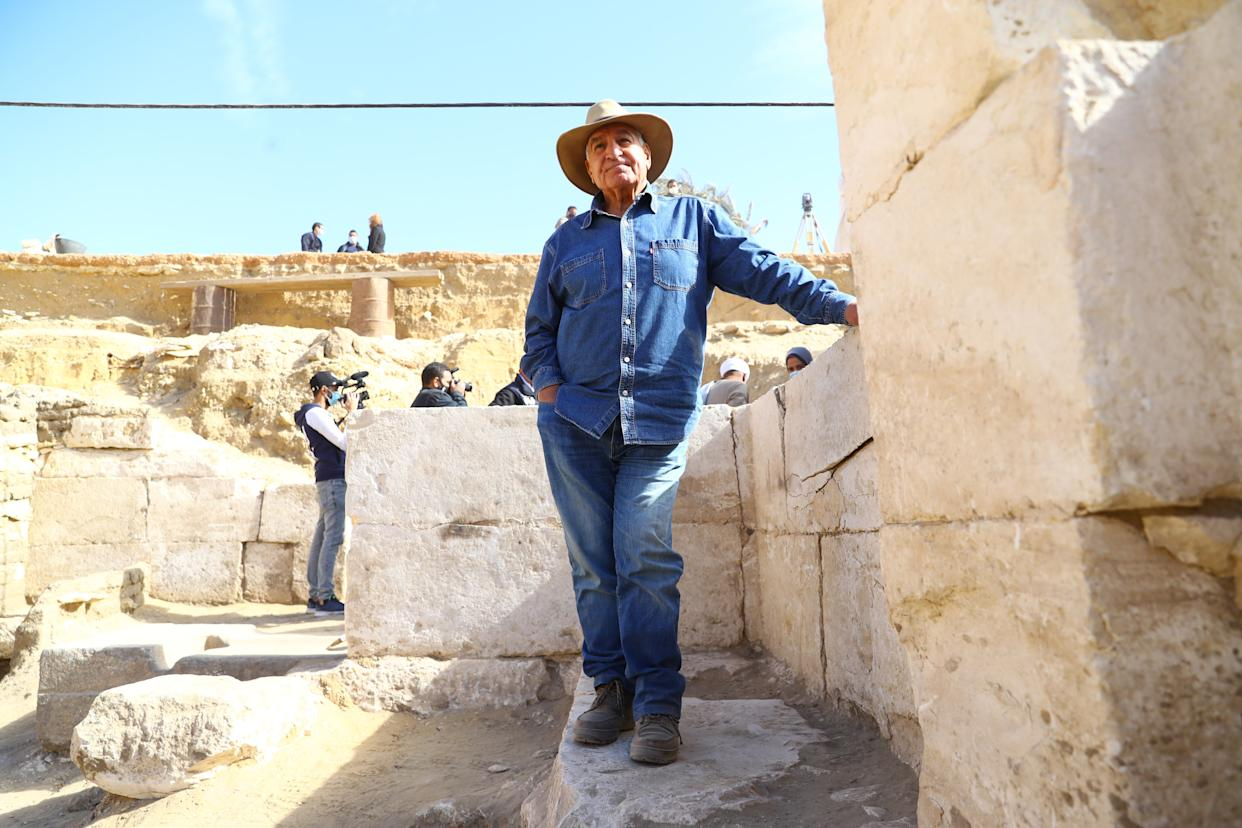 CAIRO, Jan. 17, 2021 -- Top archeologist and Egyptologist Zahi Hawass is seen at the archeological site in Saqqara necropolis, Egypt, Jan. 17, 2021. TO GO WITH