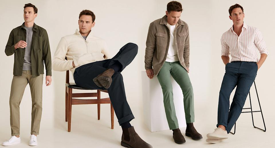 The top-rated chinos come in 12 different shades including navy, green and stone. (Marks & Spencer)