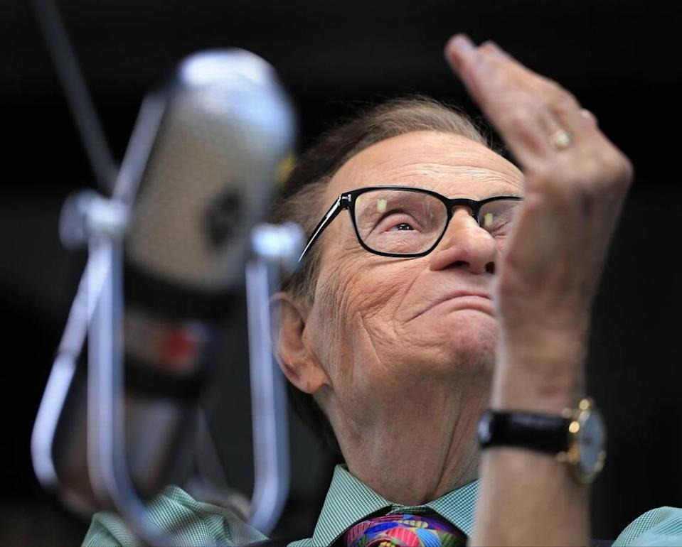 On Monday, April 3, 2017, famed talk show host/TV journalist Larry King holds an interview at the Loews Miami Beach hotel as part of his celebration of the start of his career 60 years ago in Miami, Florida. As part of his visit he taped two programs for his current Larry King Now show on Monday.