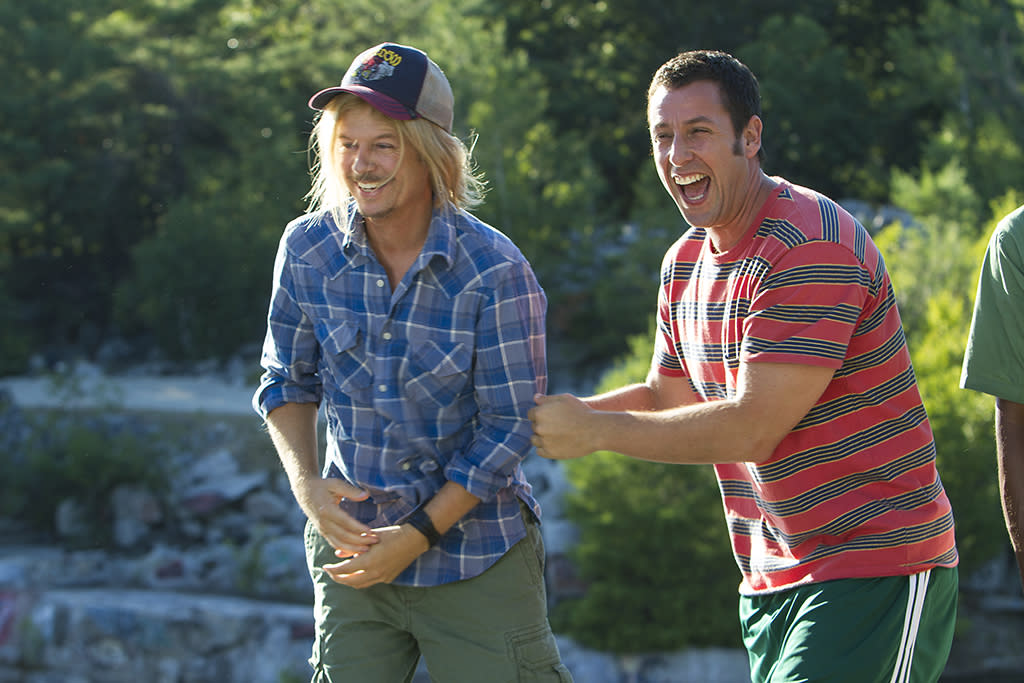 Marcus Higgins (David Spade) and Lenny Feder (Adam Sandler) at the quarry in Columbia Pictures' GROWN UPS 2.