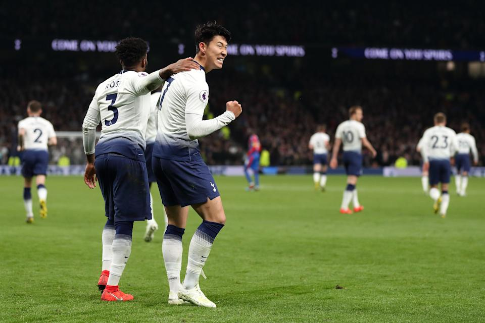 LONDON, ENGLAND - APRIL 03: Son Heung-min of Tottenham celebrates after scoring a goal to make it 1-0 the first competative goal scored at Tottenham Hotspur Stadium the home stadium of Tottenham Hotspur during the Premier League match between Tottenham Hotspur and Crystal Palace at Tottenham Hotspur Stadium on April 3, 2019 in London, United Kingdom. (Photo by James Williamson - AMA/Getty Images)