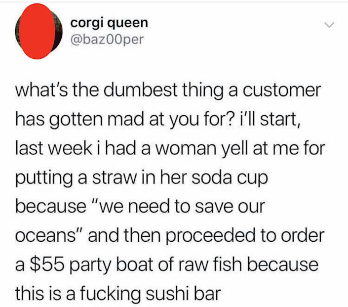 tweet about someone getting mad about straws meanwhile they are in a sushi bar