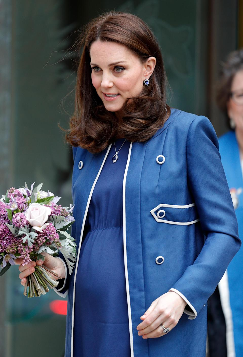 <p>The royal accepted a role role as the Patron of the Royal College of Obstetricians and Gynaecologists, a role previously held by the Queen Mother, wearing a Jackie O-style Jenny Packham bespoke coat (Getty Images) </p>