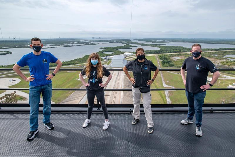 Inspiration4 crew, left to right: Jared Isaacman, the entrepreneur financing the mission; Hayley Arceneaux; Sian Proctor; and Chris Sembroski. / Credit: SpaceX