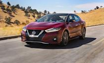 """<p>The <a href=""""https://www.caranddriver.com/nissan/maxima"""" rel=""""nofollow noopener"""" target=""""_blank"""" data-ylk=""""slk:Nissan Maxima"""" class=""""link rapid-noclick-resp"""">Nissan Maxima</a> just celebrated its <a href=""""https://www.caranddriver.com/news/a34109192/2021-nissan-maxima-40th-anniversary-edition/"""" rel=""""nofollow noopener"""" target=""""_blank"""" data-ylk=""""slk:40th anniversary with a special edition model"""" class=""""link rapid-noclick-resp"""">40th anniversary with a special edition model</a>. The Maxima is no longer offered with halogen bulb headlights like it was in 2018, and its now standard LED reflectors have raised its IIHS headlight rating from Marginal to Acceptable across all trims. Nissan's automatic emergency braking system worked as intended during <a href=""""https://www.iihs.org/ratings/vehicle/nissan/maxima-4-door-sedan/2021"""" rel=""""nofollow noopener"""" target=""""_blank"""" data-ylk=""""slk:every IIHS test"""" class=""""link rapid-noclick-resp"""">every IIHS test</a>, and stopped in time to avoid vehicle-to-vehicle and vehicle-to-pedestrian collisions. In the 37 mph parallel adult test, the Maxima detected the pedestrian and stopped in under two seconds. Like other Nissans, the Maxima comes standard with automated emergency braking, forward-collision warning, lane-departure warning, rear-cross-traffic warning and automatic braking, and adaptive cruise control. </p><p><a class=""""link rapid-noclick-resp"""" href=""""https://www.caranddriver.com/reviews/a15092188/2017-nissan-maxima-test-review/"""" rel=""""nofollow noopener"""" target=""""_blank"""" data-ylk=""""slk:MAXIMA TESTED"""">MAXIMA TESTED</a> 