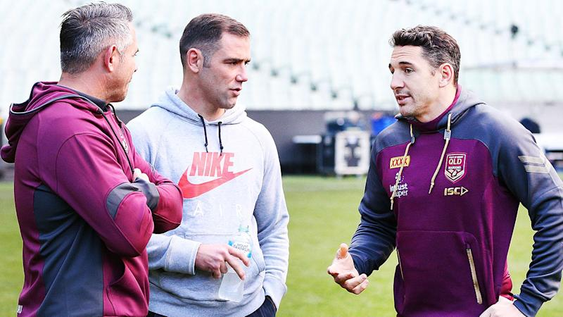 Slater, Smith and Corey Parker discuss tactics ahead of game one in Melbourne. Pic: Getty