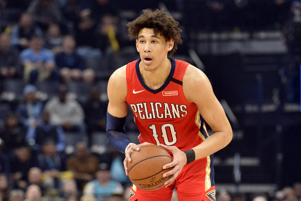 """FILE - In this Jan. 20, 2020, file photo, New Orleans Pelicans center Jaxson Hayes handles the ball in the first half of an NBA basketball game against the Memphis Grizzlies in Memphis, Tenn. A Los Angeles police officer pressed their knee to the neck of New Orleans Pelicans center Jaxson Hayes as the basketball player gasped """"I can't breathe"""" just seconds before another officer used a Taser on him during a struggle last month, according to body camera video released Friday, Aug. 27,. 2021. (AP Photo/Brandon Dill, File)"""