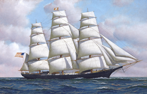 """<span class=""""caption"""">The American clipper ship Flying Cloud would have rung to the sound of sea shanties.</span> <span class=""""attribution""""><a class=""""link rapid-noclick-resp"""" href=""""https://upload.wikimedia.org/wikipedia/commons/1/1b/Antonio_Jacobsen_-_The_American_clipper_ship_Flying_Cloud_at_sea_under_full_sail.jpg"""" rel=""""nofollow noopener"""" target=""""_blank"""" data-ylk=""""slk:Antonio Jacobsen/Wikimedia"""">Antonio Jacobsen/Wikimedia</a>, <a class=""""link rapid-noclick-resp"""" href=""""http://creativecommons.org/licenses/by-sa/4.0/"""" rel=""""nofollow noopener"""" target=""""_blank"""" data-ylk=""""slk:CC BY-SA"""">CC BY-SA</a></span>"""