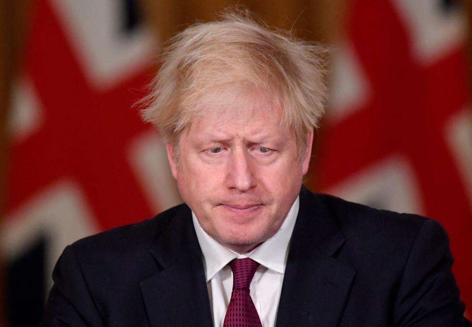 Prime Minister Boris Johnson during a news conference in response to the ongoing situation with the Covid-19 pandemic, at 10 Downing Street, London.