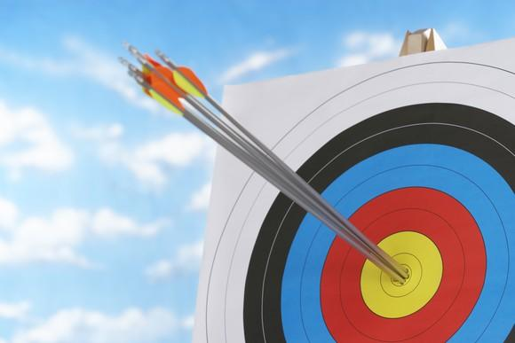 A target with arrows in the bulls eye.