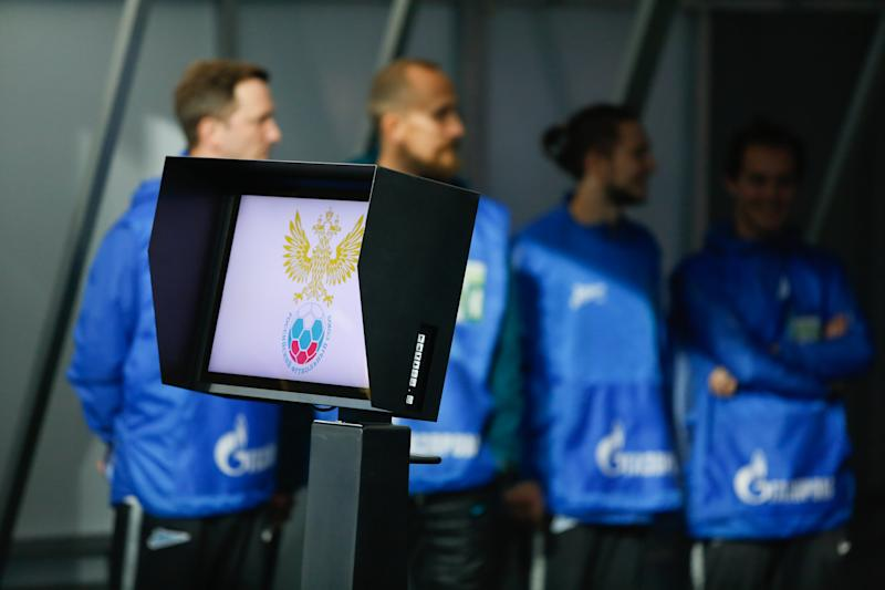 SAINT PETERSBURG, RUSSIA - OCTOBER 19: The VAR system with logo of RFU during the Russian Premier League match between FC Rostov and FC Zenit on October 19, 2019, at Gazprom Arena in Saint Petersburg, Russia. (Photo by Anatoliy Medved/Icon Sportswire via Getty Images)