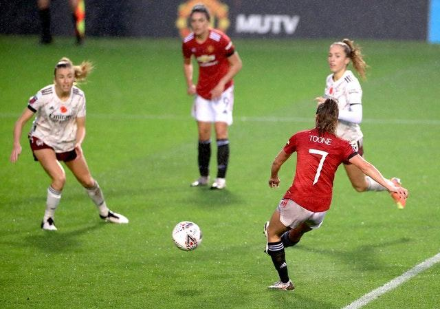 Ella Toone, right, scored the winner for Manchester United Women against Arsenal on Sunday