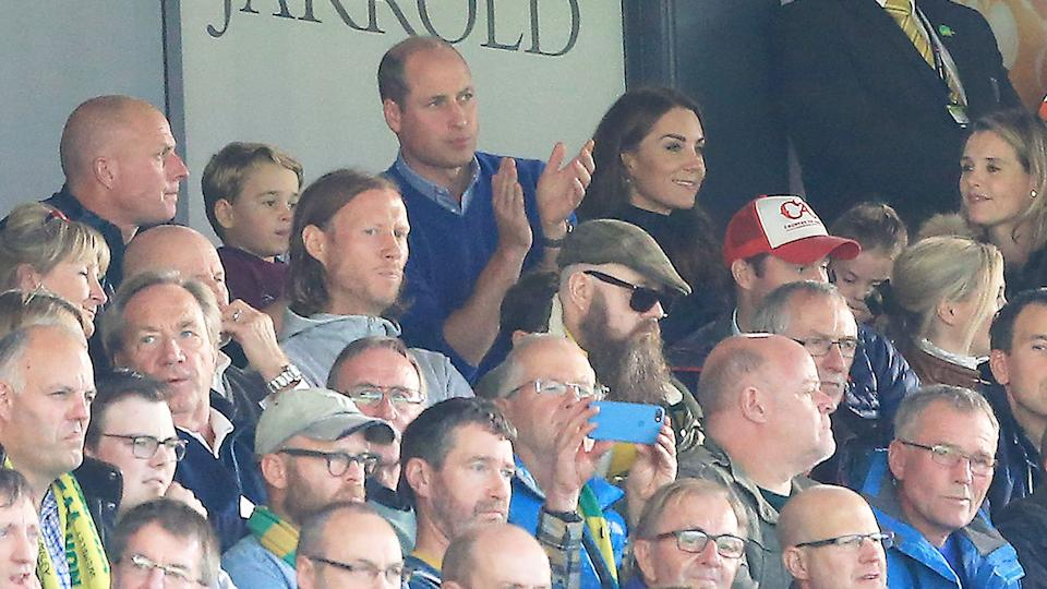 Prince William is seen here watching an Aston Villa match from the stands.