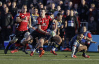 Crusaders Will Jordan passes the ball during the Super Rugby Aotearoa rugby game between the Crusaders and the Highlanders in Christchurch, New Zealand, Sunday, Aug. 9, 2020. (AP Photo/Mark Baker)
