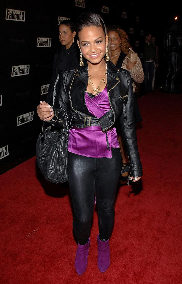 "Christina Milian is hot but those leggings are not! John Shearer/<a href=""http://www.wireimage.com"" target=""new"">WireImage.com</a> - October 16, 2008"