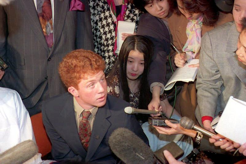 Webb Haymaker pictured in March 1994 at the US Embassy after Ambassador Walter Mondale apologised over the shooting of two 19-year-old Japanese students. Source: AFP via Getty Images.