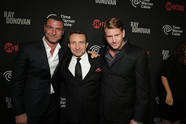 Liev Schreiber, Eddie Marsan, and Dash Mihok at the Showtime premiere of the new drama series Ray Donovan presented by Time Warner Cable, on Tuesday, June, 25, 2013 in Los Angeles. (Photo by Eric Charbonneau/Invision for Showtime/AP Images)