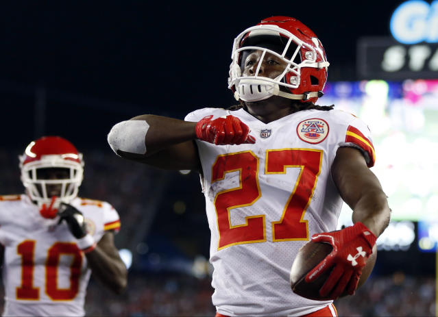 Kareem Hunt is accused of shoving a woman. (AP Photo/Michael Dwyer)