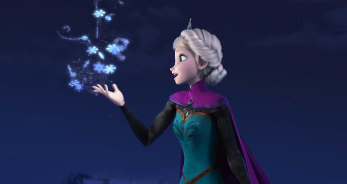 """FILE - This file image provided by Disney shows Elsa the Snow Queen, voiced by Idina Menzel, in a scene from the animated feature """"Frozen."""" According to studio estimates Sunday, Jan. 5, 2014, Disney's """"Frozen"""" remained atop the box office with $20.7 million, freezing out the horror spinoff """"Paranormal Activity: The Marked Ones."""" (AP Photo/Disney, File)"""