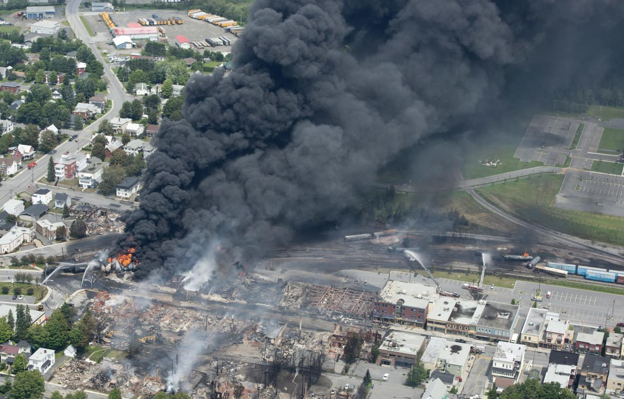 Smoke rises from railway cars that were carrying crude oil after derailing in downtown Lac Megantic, Quebec, Canada, Saturday, July 6, 2013. A large swath of Lac Megantic was destroyed Saturday after a train carrying crude oil derailed, sparking several explosions and forcing the evacuation of up to 1,000 people. (AP Photo/The Canadian Press, Paul Chiasson)